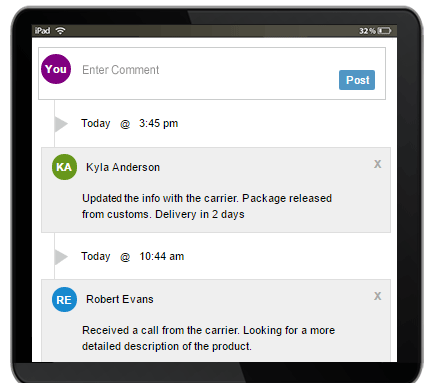 Collaborate with other shipper's by leaving notes about your interactions with the carriers and your clients.