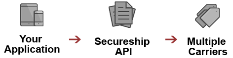 Your Application -> Secureship API -> Multiple Carriers